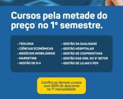 A UNICESUMAR está com uma campanha imperdível de descontos para o 1º semestre dos seguintes cursos listados